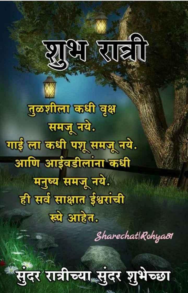 💐💐 शुभ रात्री 💐💐 - शुभ रात्री तुळशीला कधी वृक्ष समजू नये . गाई ला कधी पशू समजू नये . आणि आईवडीलांना कधी मनुष्य समजू नये . ही सर्व साक्षात ईश्वरांची रूपे आहेत . Sharechat | Rohya81 * सुंदर रात्रीच्या सुंदर शुभेच्छा - ShareChat