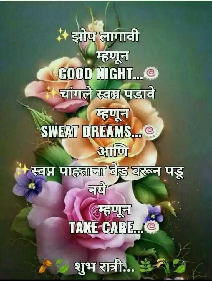 😴शुभ रात्री - * झोप लागावी म्हणून GOOD NIGHT . . . चांगले स्वप्न पडावे म्हणून SWEAT DREAMS . . . आणि स्वप्न पाहताना बेड वरून पडू नये ( म्हणून TAKE CARE . . O . शुभ रात्री . . . - ShareChat