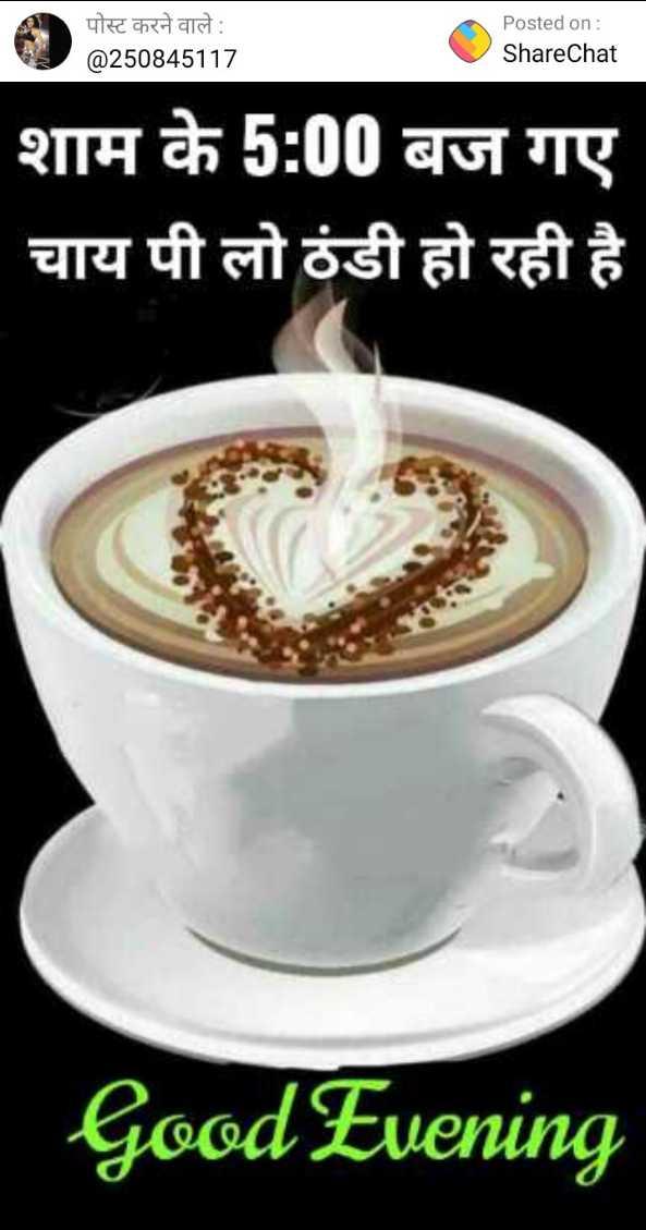 🌜 शुभ संध्या🙏 - पोस्ट करने वाले : @ 250845117 Posted on : ShareChat शाम के 5 : 00 बज गए चाय पी लो ठंडी हो रही है Good Evening - ShareChat