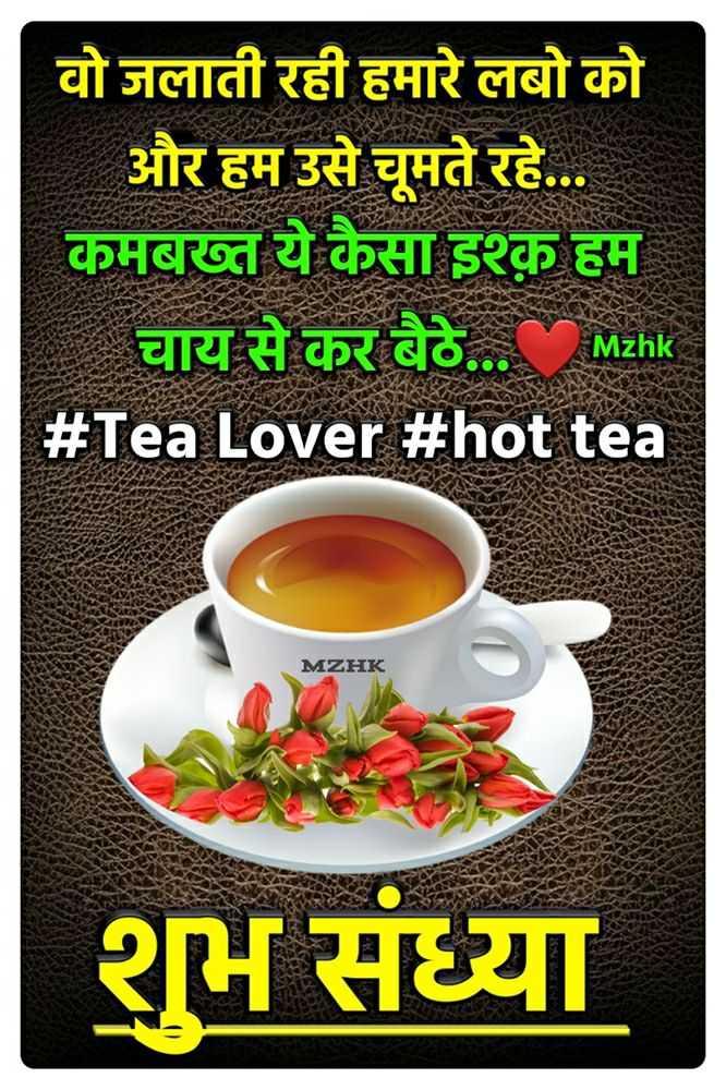 🌜 शुभ संध्या🙏 - वो जलाती रही हमारे लबो को और हम उसे चूमते रहे . . . कमबख्त ये कैसा इश्क हम चाय से कर बैठे . . . MEhk # Tea Lover # hot tea Mzhk MZHK शुभ संध्या - ShareChat