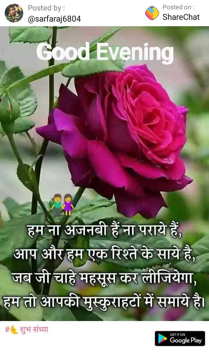 🌜शुभ संध्या - Posted by : @ sarfaraj6804 Posted on : ShareChat Good Evening हम ना अजनबी हैं ना पराये हैं , | आप और हम एक रिश्ते के साये है , जब जी चाहे महसूस कर लीजियेगा , हम तो आपकी मुस्कुराहटों में समाये है । | # शुभ संध्या GET IT ON Google Play - ShareChat