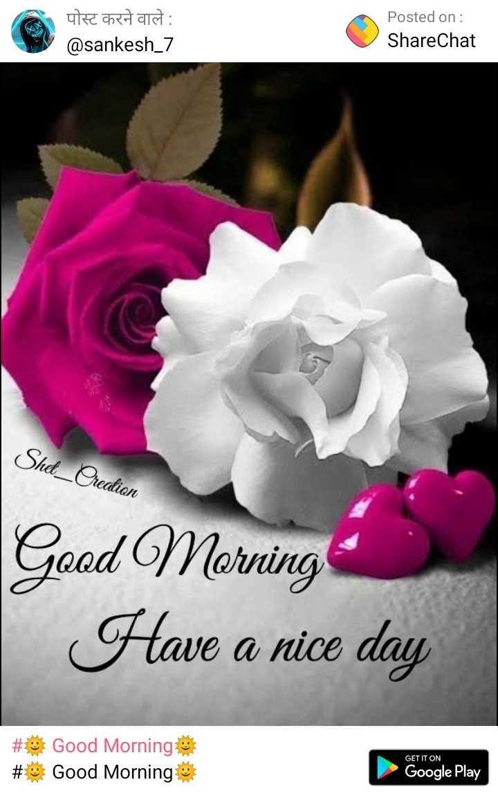 🌷शुभ सोमवार - पोस्ट करने वाले : @ sankesh _ 7 Posted on : ShareChat Shet _ Ordion Good Morning Have a nice day # # Good Morning Good Morning GET IT ON Google Play - ShareChat