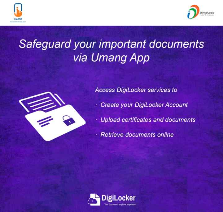 🌷शुभ सोमवार - Digital India Power To Empower UMANG THE SPIRIT OF NEW INDIA Safeguard your important documents via Umang App S re G Access DigiLocker services to Create your DigiLocker Account Upload certificates and documents • Retrieve documents online DigiLocker Your documents anytime , anywhere - ShareChat