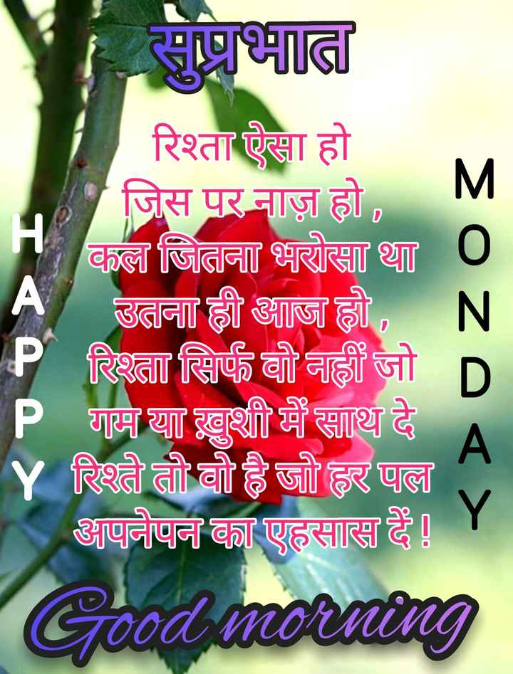 🌷शुभ सोमवार - so सुप्रभात रिश्ता ऐसा हो जिस पर नाज़ हो , कल जितना भरोसा था 0 A उतना ही आज हो , N P रिश्ता सिर्फ वो नहीं जो P गाम या खुशी में साथ दे Y रिश्ते तो वो है जो हर पल अपनेपन का एहसास है ! Y Good morning ze < > - ShareChat