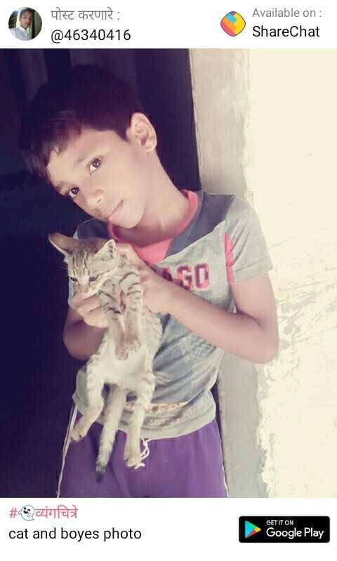 शेअरचॅट(फेक प्रोफाइल) - पोस्ट करणारे : @ 46340416 Available on : ShareChat # व्यंगचित्रे cat and boyes photo GET IT ON Google Play - ShareChat