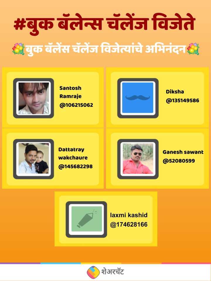 📚 शेअरचॅट बुक बॅलेन्स चॅलेंज व्हिडिओ - # बुक बॅलेन्स चॅलेंज विजेते बुक बॅलेंस चॅलेंज विजेत्यांचे अभिनंदन Santosh Ramraje @ 106215062 Diksha @ 135149586 Dattatray wakchaure @ 145682298 Ganesh sawant @ 52080599 laxmi kashid @ 174628166 शेअरचॅट - ShareChat