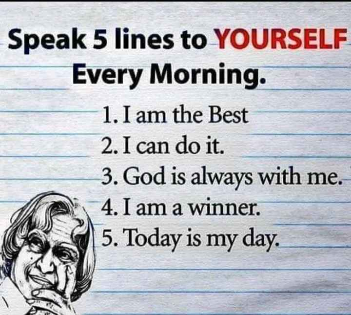 🤨 शेयरचैट अकलमंद नं.1 - Speak 5 lines to YOURSELF Every Morning . 1 . I am the Best 2 . I can do it . 3 . God is always with me . 4 . I am a winner . 5 . Today is my day . - ShareChat