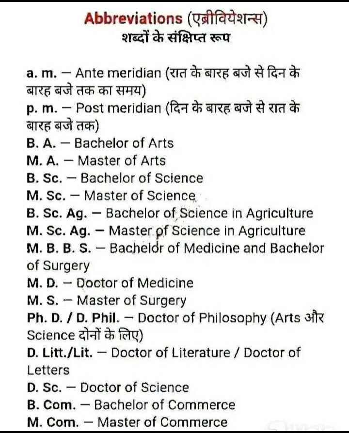 💡 शेयरचैट सामान्य ज्ञान - Abbreviations ( एबीवियेशन्स ) शब्दों के संक्षिप्त रूप a . m . - Ante meridian ( TCT care auto Parts बारह बजे तक का समय ) p . m . - Post meridian ( f ara autora बारह बजे तक ) B . A . - Bachelor of Arts M . A . - Master of Arts B . Sc . - Bachelor of Science M . Sc . - Master of Science , B . Sc . Ag . - Bachelor of Science in Agriculture M . Sc . Ag . - Master pf Science in Agriculture M . B . B . S . - Bachelor of Medicine and Bachelor of Surgery M . D . - Doctor of Medicine M . S . - Master of Surgery Ph . D . / D . Phil . - Doctor of Philosophy ( Arts it Science ati ) D . Litt . / Lit . - Doctor of Literature / Doctor of Letters D . Sc . - Doctor of Science B . Com . - Bachelor of Commerce M . Com . - Master of Commerce - ShareChat
