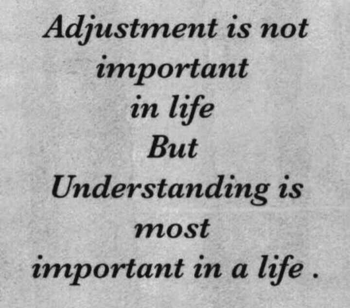 🖋 शेयरचैट Quotes - Adjustment is not important in life But Understanding is most important in a life . - ShareChat