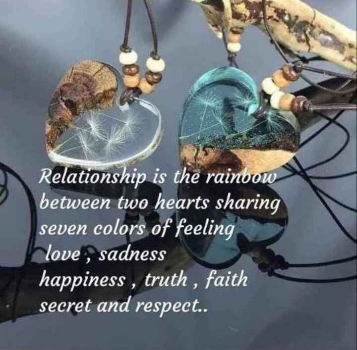 🖋 शेयरचैट Quotes - Relationship is the rainbow between two hearts sharing seven colors of feeling love , sadness happiness , truth , faith secret and respect . . - ShareChat