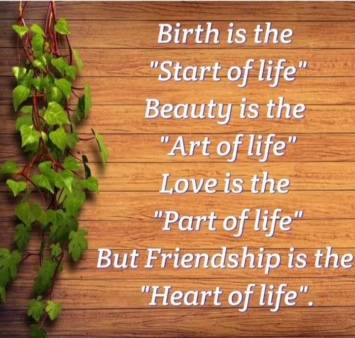 🖋 शेयरचैट Quotes - Birth is the Start of life Beauty is the Art of life Love is the Part of life But Friendship is the Heart of life . - ShareChat