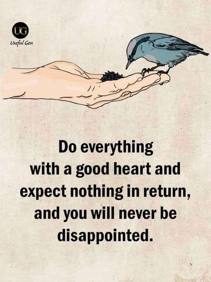 🖋 शेयरचैट Quotes - UG Useful Gen Do everything with a good heart and expect nothing in return , and you will never be disappointed . - ShareChat