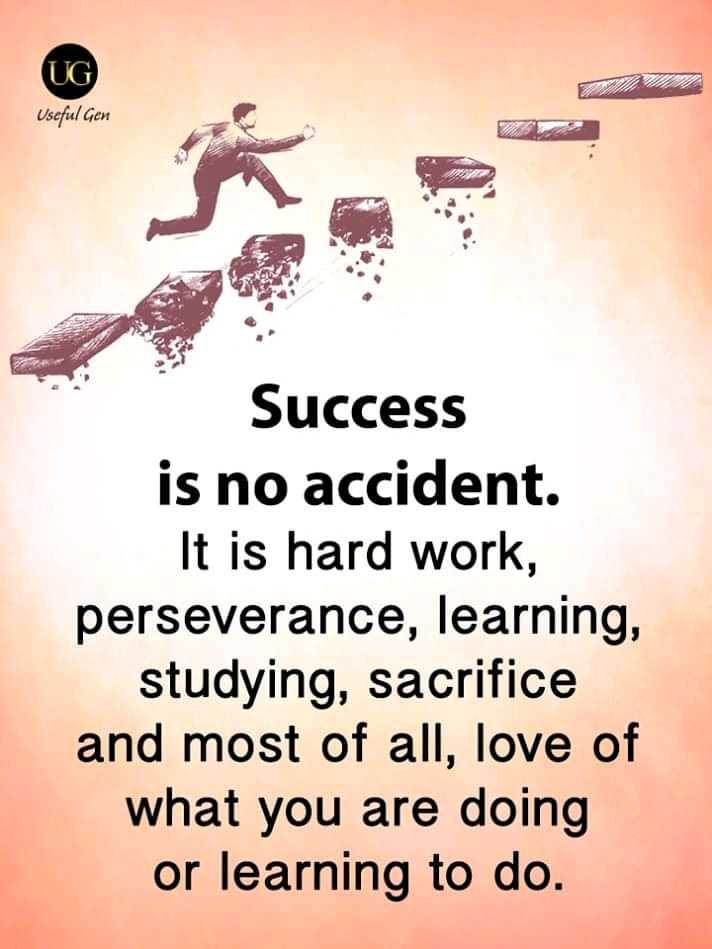 🖋 शेयरचैट Quotes - UG Useful Gen Success is no accident . It is hard work , perseverance , learning , studying , sacrifice and most of all , love of what you are doing or learning to do . - ShareChat