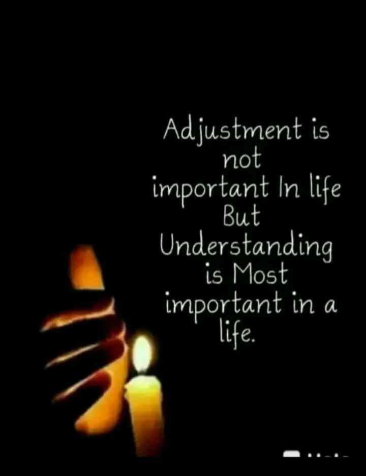 🖋 शेयरचैट Quotes - Adjustment is not important in life ' . But Understanding is Most important in a life . - ShareChat