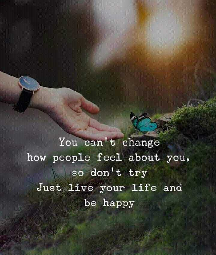 🖋 शेयरचैट Quotes - DIA You can ' t change how people feel about you , so don ' t try Just live your life and be happy - ShareChat