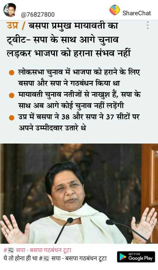 📰 सपा - बसपा गठबंधन टूटा - @ 76827800 ShareChat उप्र / बसपा प्रमुख मायावती का ट्वीट - सपा के साथ आगे चुनाव लड़कर भाजपा को हराना संभव नहीं ० लोकसभा चुनाव में भाजपा को हराने के लिए बसपा और सपा ने गठबंधन किया था मायावती चुनाव नतीजों से नाखुश हैं , सपा के साथ अब आगे कोई चुनाव नहीं लड़ेंगी । उप्र में बसपा ने 38 और सपा ने 37 सीटों पर अपने उम्मीदवार उतारे थे । # s , सपा - बसपा गठबंधन टूटा ये तो होना ही था # 2 सपा - बसपा गठबंधन टूटा GET IT ON Google Play - ShareChat