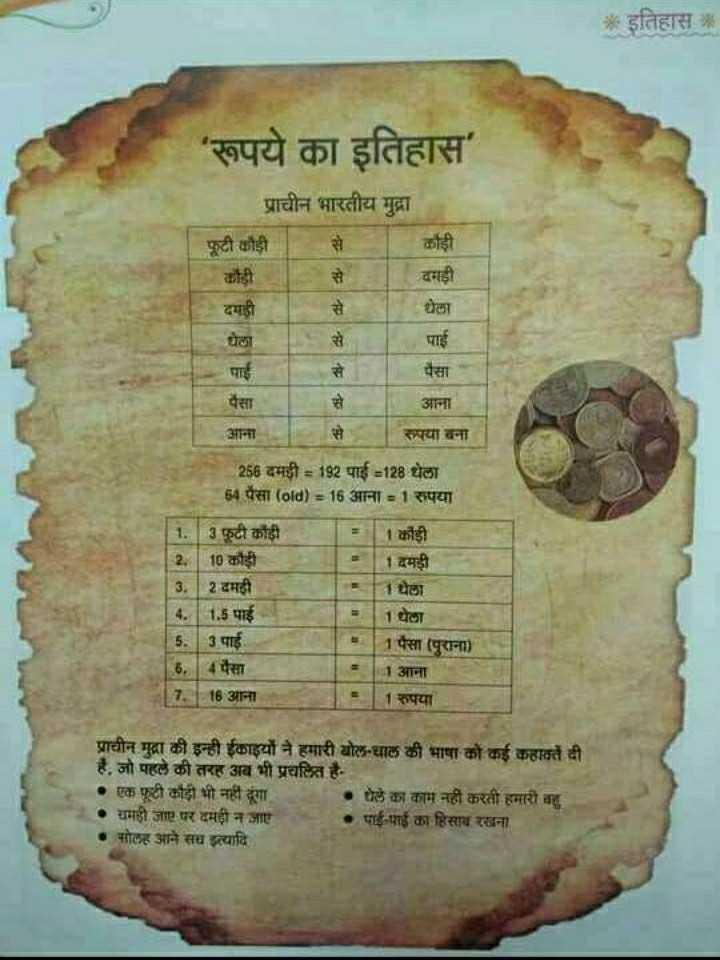 🧮 सरल गणित / Reasoning - * इतिहास : ' रूपये का इतिहास । प्राचीन भारतीय मुद्रा पूटी कौड़ी कही । कही । वाड़ी धेला दमड़ी । धेला । पैसा पाई । पैसा ना आना पया बना । 256 दमड़ी = 192 पाई = 128 धेला 64 पैसा ( old ) = 16 आना = 1 रुपया 1 . ३ फूटी कौड़ी । 2 . [ 10 कोही 1 दमड़ी 3 . | 2 दमही 1 घेला 4 . 1 . 5 पाई 1 थेला 5 . | 3 पाई । | 1 पैसा ( पुराना ) 1 आना 7 | 16 आना 1 रुपया प्राचीन मुद्रा की इन्ही ईकाइयों ने हमारी बोल - चाल की भाषा को कई कहावतें दी । है , जो पहले की तरह अब भी प्रचलित है • एक फूटी कौड़ी भी नहीं दूंगा । मेले का काम नहीं करती हमारी वह यमही जग पर दमड़ी न जाए । पापाई का हिसाब रखना नसोलह आने सच इत्यादि । - ShareChat