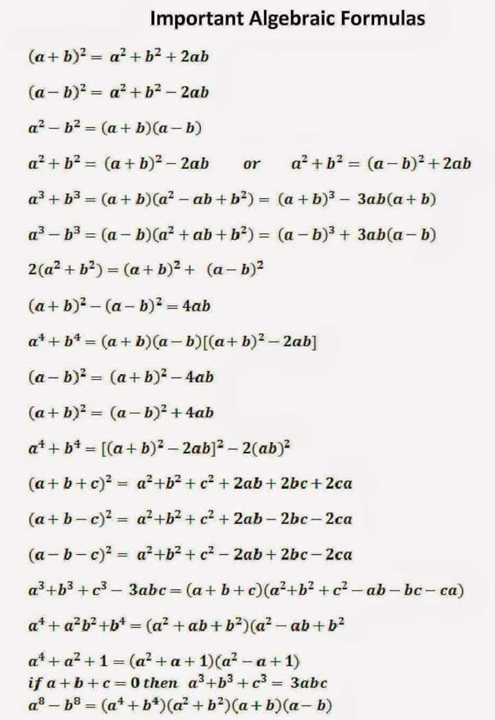 🧮 सरल गणित / Reasoning - Important Algebraic Formulas ( a + b ) 2 = a + b2 + 2ab ( a - b ) = a + b2 - 2ab a ? – b2 = ( a + b ) ( a - b ) a ' + b2 = ( a + b ) 2 - 2ab or a + b = ( a - b ) 2 + 2ab a3 + b3 = ( a + b ) ( a ? - ab + b2 ) = ( a + b ) 3 – 3ab ( a + b ) a } - b3 = ( a - b ) ( a² + ab + b2 ) = ( a - b ) 3 + 3ab ( a - b ) 2 ( a2 + b2 ) = ( a + b ) 2 + ( a , b ) 2 ( a + b ) 2 – ( a - b ) 2 = 4ab q * + b = ( a + b ) ( a - b ) [ ( a + b ) 2 – 2ab ] ( a - b ) = ( a + b ) 2 - 4ab ( a + b ) 2 = ( a - b ) 2 + 4ab a + + b * = [ ( a + b ) 2 – 2ab ] 2 – 2 ( ab ) 2 ( a + b + c ) 2 = a + 62 + c2 + 2ab + 2bc + 2ca ( a + b - c ) 2 = a + b + c2 + 2ab – 2bc - 2ca ( a - b - c ) 2 = a + b + c2 - 2ab + 2bc - 2ca a + b3 + c3 – 3abc = ( a + b + c ) ( a + b2 + c - ab - bc - ca ) a * + a²b2 + b + = ( a² + ab + b ) ( a ? - ab + b2 a * + a2 + 1 = ( a + a + 1 ) ( a ? - a + 1 ) if a + b + c = 0 then ap + b3 + c3 = 3abc q8 - 58 = ( a + + b * ) ( a + b ) ( a + b ) ( a - b ) - ShareChat