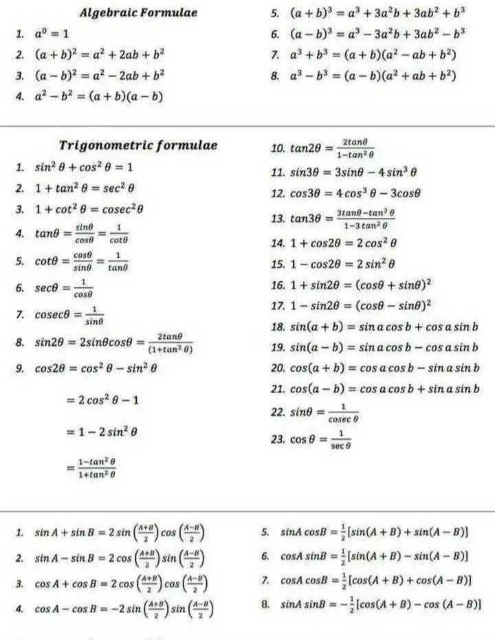 🧮 सरल गणित / Reasoning - Algebraic Formulae 1 . a° = 1 2 . ( a + b ) 2 = a + 2ab + b2 3 . ( a - b ) 2 = a2 - 2ab + b2 4 . a ? - b2 = ( a + b ) ( a - b ) 5 . ( a + b ) 3 = a + 3a²b + 3ab2 + b3 6 . ( a - b ) = q * - 3a²b + 3ab2 - 53 7 . a ? + b3 = ( a + b ) ( a ? - ab + b2 ) 8 . a ? - b3 = ( a - b ) ( a + ab + b2 ) Trigonometric formulae 1 . sin ? 6 + cosa 6 = 1 2 . 1 + tan 6 = seca 3 . 1 + cot @ = cosec 0 10 . tan20 = 2 1 - tano 11 . sin30 = 3sing - 4 sin e 12 . cos30 = 4 cos 0 - 3cose 13 . tan3e - 3tano - tan ' a 4 . tano = sine - 1 cosocota 5 . cote cose 1 sind tano 6 . seco = 1 cose 7 . cosece = 1 sine 8 . sin20 = 2sin cose = ( 1 + tan28 ) 9 . cos20 = cos - sin 1 - 3 tane 14 . 1 + cos20 = 2 cosa @ 15 . 1 - cos20 = 2 sin e 16 . 1 + sin2e = ( cose + sinh ) 17 . 1 - sin20 = ( cose - sino ) 18 . sin ( a + b ) = sin a cos b + cos a sin b 19 . sin ( a - b ) = sin a cos b - cos a sin b 20 . cos ( a + b ) = cos a cos b - sin a sin b 21 . cos ( a - b ) = cos a cos b + sin a sin b 22 . sint = - 1 23 . cos e Beb = 2 cos ? 0 - 1 cosec = 1 - 2 sin 1 - tande 1 + tan28 1 . sin A + sin B = 2 sin ( 7 ) cos ( 7 ) 2 . sin A - sin B = 2 cos ( 47 ) sin ( 4 ) 3 . cos A + cos B = 2 . cos ( 444 ) cos ( * * ) 4 . Cos A - cos B = - 2 sin ( 476 ) sin ( 4 : 1 ) 5 . sinA cosB = ( sin ( A + B ) + sin ( A - B ) ] 6 . CosA sinB = ( sin ( A + B ) - sin ( A - B ) ] 7 . cosA cosB = ( cos ( A + B ) + cos ( A - B ) 8 . sina sinB = cos ( A + B ) - cos ( A - B ) ] - ShareChat