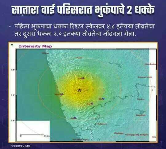 🗞साताऱ्यात भुकंपाचे धक्के - माताटा वाई परिमात भुकंपाचे 2 धक्के - पहिला भूकंपाचा धक्का रिश्टर स्केलवर ४ . ८ इतक्या तीव्रतेचा । | तर दुसरा धक्का ३ . ० इतक्या तीव्रतेचा नोंदवला गेला . Intensity Map SOURCE - IMD - ShareChat