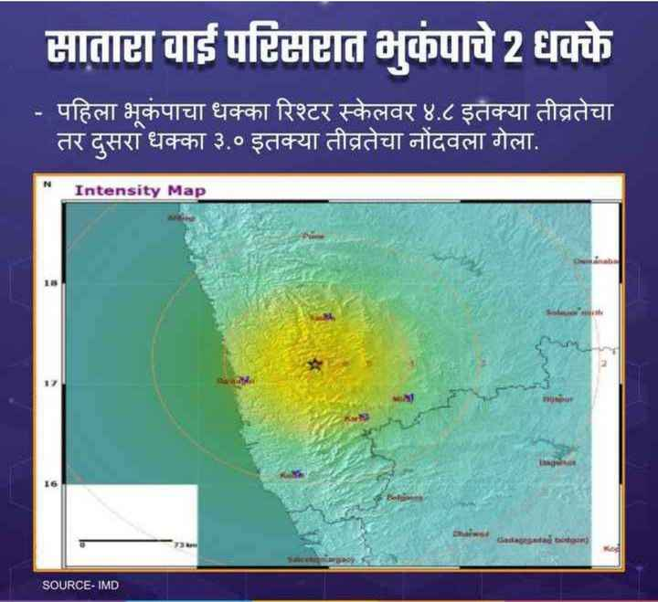 🗞साताऱ्यात भुकंपाचे धक्के - मातास वाई परिमात भूकंपाचे 2 धक्के - पहिला भूकंपाचा धक्का रिश्टर स्केलवर ४ . ८ इतक्या तीव्रतेचा तर दुसरा धक्का ३ . ० इतक्या तीव्रतेचा नोंदवला गेला . Intensity Map Cadastga bottom ) SOURCE - IMD - ShareChat