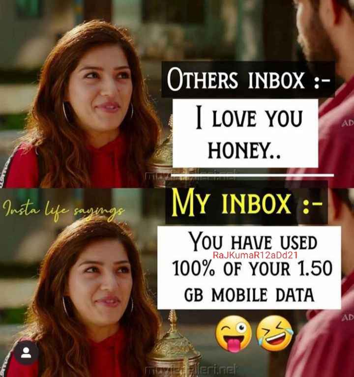 😎सिंगल्स वीक - OTHERS INBOX : I LOVE YOU HONEY . . Insta life sayings MY INBOX : YOU HAVE USED 100 % OF YOUR 1 . 50 GB MOBILE DATA RajkumaR12aDd21 AD Terleri . cel - ShareChat