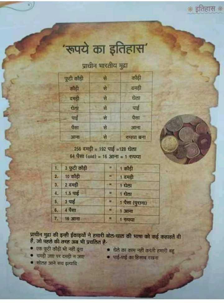 🌕सिक्का दिवस - * इतिहास रूपये का इतिहास प्राचीन भारतीय मुद्रा कौड़ी दमड़ी फूटी कौड़ी कौड़ी दमड़ी घेला धेला पाई पैसा पैसा आना रुपया बना आना 256 दमड़ी = 192 पाई = 128 घेला 64 पैसा ( old ) = 16 आना = 1 रुपया 1 . फूटी कौड़ी - कौड़ी 2 . 10 कौड़ी 11 दमड़ी 3 . 2 दमड़ी 1धेला 14 . 1 . 5 पाई 1घेला 5 . 3 पाई 1 पैसा ( पुराना ) 6 . 4 पैसा 1 आना 7 . 18 आना 1 रुपया प्राचीन मुद्रा की इन्ही ईकाइयों ने हमारी बोल - चाल की भाषा को कई कहावतें दी है , जो पहले की तरह अब भी प्रचलित है • एक फूटी कौड़ी भी नहीं दूंगा घेले का काम नहीं करती हमारी बहु चमड़ी जाए पर दमही न जाए पाई - पाई का हिसाब रखना सोलह आने सच इत्यादि - ShareChat