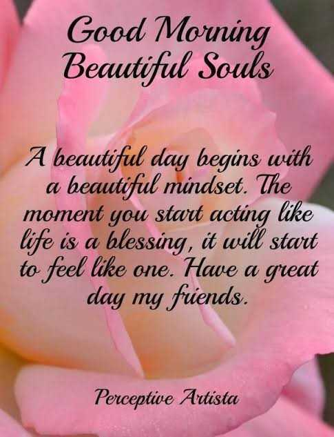🌄  सुप्रभात - Good Morning Beautiful Souls A beautiful day begins with a beautiful mindset . The moment you start acting like life is a blessing , it will start to feel like one . Have a great day my friends . Perceptie Artista - ShareChat