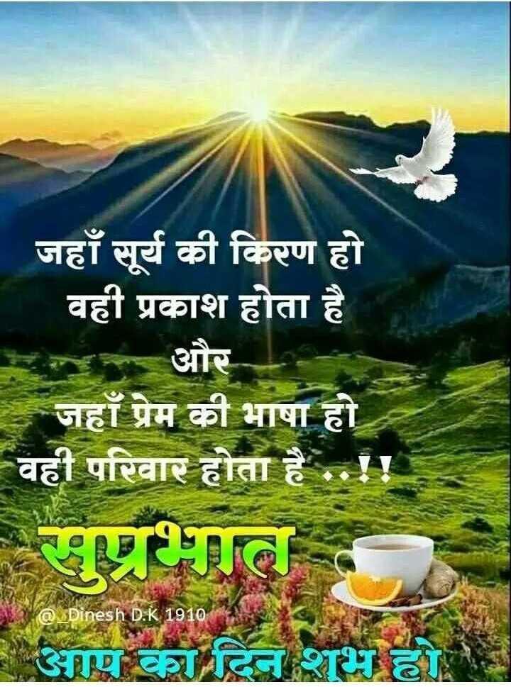 🌞सुप्रभात🌞 - जहाँ सूर्य की किरण हो वही प्रकाश होता है । | और जहाँ प्रेम की भाषा हो । वही परिवार होता है . . ! पुल आपका दिन शुभ छ । @ _ Dinesh D . K 1910 - ShareChat