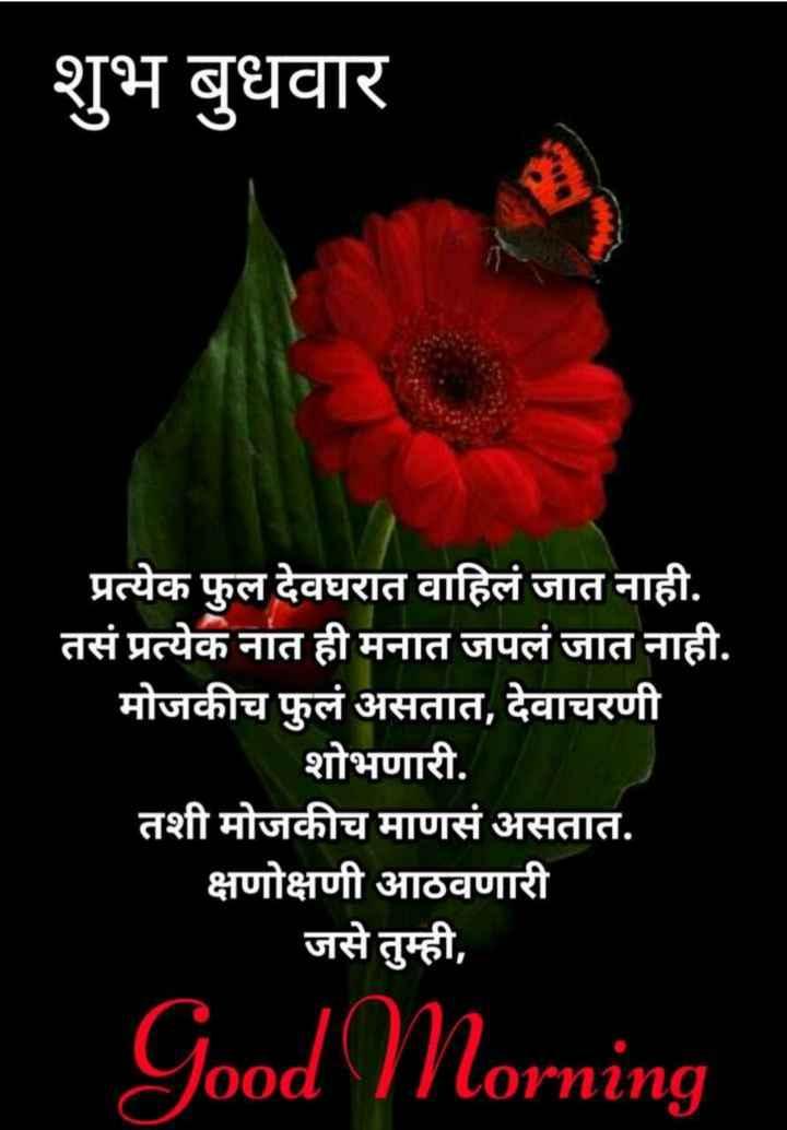 🌄सुप्रभात - शुभ बुधवार प्रत्येक फुल देवघरात वाहिलं जात नाही . तसं प्रत्येक नात ही मनात जपलं जात नाही . मोजकीच फुलं असतात , देवाचरणी शोभणारी . तशी मोजकीच माणसं असतात . क्षणोक्षणी आठवणारी जसे तुम्ही , Good Morning - ShareChat