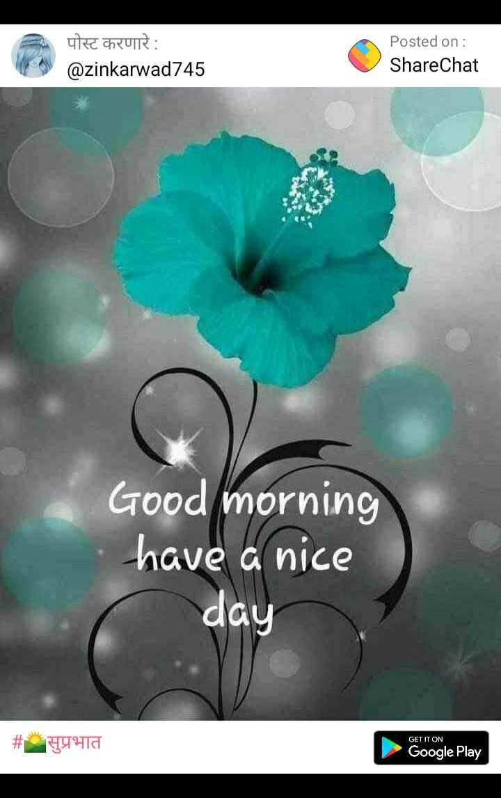 🌄सुप्रभात - पोस्ट करणारे : @ zinkarwad745 Posted on : ShareChat Good morning have a nice day # 44ta GET IT ON Google Play - ShareChat
