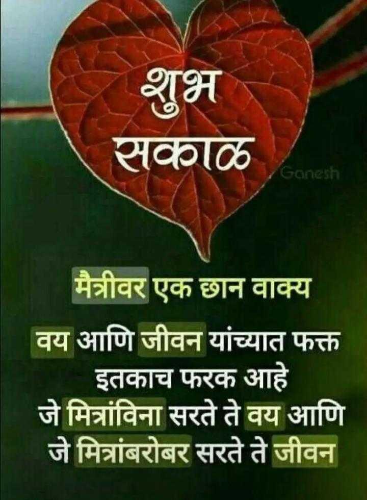 🌄सुप्रभात - शुभ सकाळ Ganesh मैत्रीवर एक छान वाक्य वय आणि जीवन यांच्यात फक्त इतकाच फरक आहे जे मित्रांविना सरते ते वय आणि जे मित्रांबरोबर सरते ते जीवन - ShareChat