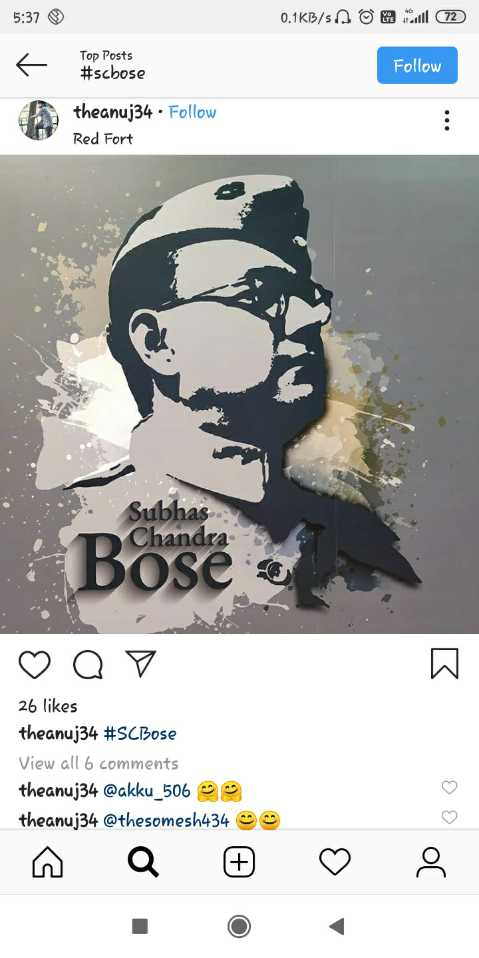 🌸सुभाष चंद्र बोस जयंती🙏 - 5 : 37 0 . 1KB / s A o @ 72 Top Posts # scbose Follow theanuj34 . Follow Red Fort Subhas Chandra Bose a ♡ oo 26 likes theanuj34 # SCBose View all 6 comments theanuj34 @ akku _ 506 @ theanuj34 @ thesomesh434 Jo be - ShareChat