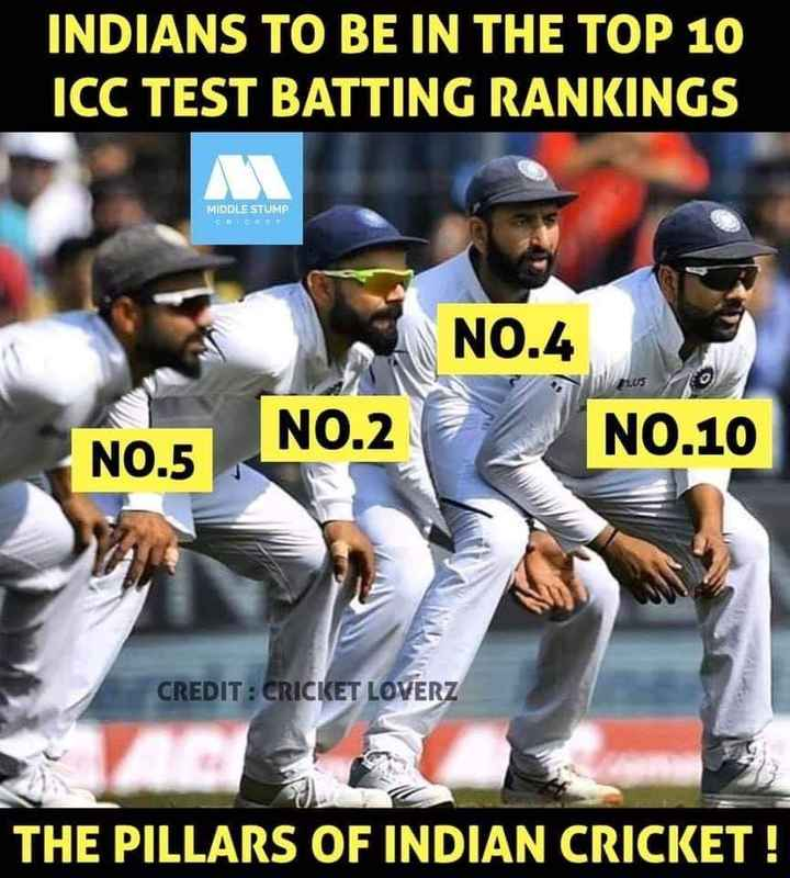 🤳सेल्फ़ी विथ ब्लू 🔵 - INDIANS TO BE IN THE TOP 10 ICC TEST BATTING RANKINGS MIDDLE STUMP ECG NO . 4 PLUS NO . 2 NO . 10 NO . 5 CREDIT : CRICKET LOVERZ THE PILLARS OF INDIAN CRICKET ! - ShareChat