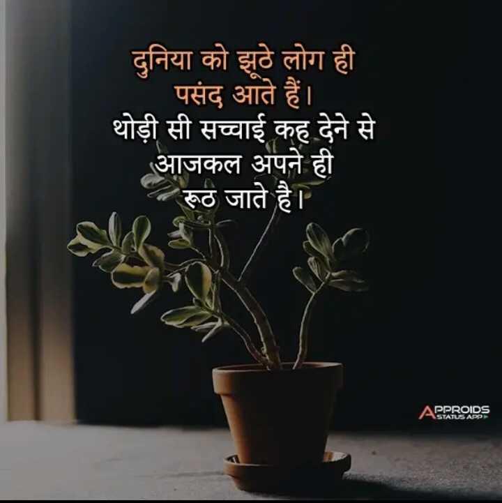 📓 हिंदी साहित्य - दुनिया को झूठे लोग ही पसंद आते हैं । थोड़ी सी सच्चाई कह देने से आजकल अपने ही - रूठ जाते है । APPROADS - ShareChat