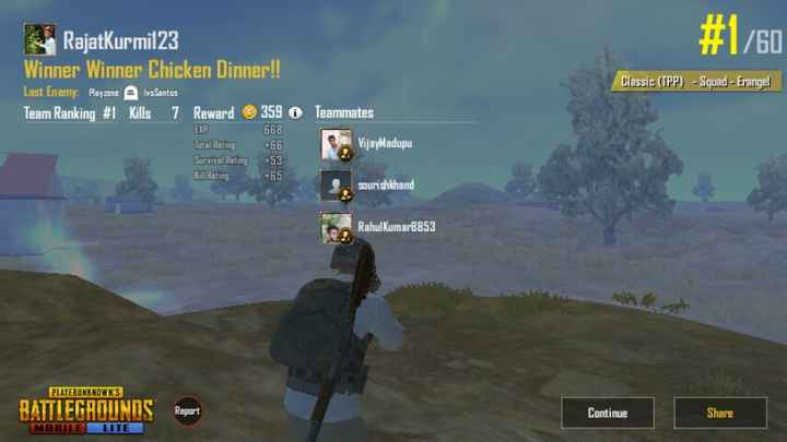 🎂 हैप्पी बर्थडे चिरंजीवी - # 1 / 60 RajatKurmil23 Winner Winner Chicken Dinner ! ! Last Enemy : Playzone A vaSantes Team Ranking # 1 Kills 7 Reward 359 O EXP 668 Classic ( TPP ) - Squad - Erangel Teammates VijayMadupu Survive Rating 53 + 65 sourishkhand RahulKumar3853 PLAYERUNKNOWN ' S BATTLEGROUNDS Report MOBILE LUTE Continue Share - ShareChat
