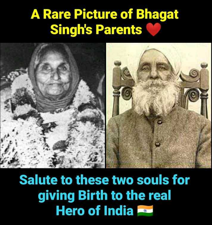 🎂 हैप्पी बर्थडे भगत सिंह - A Rare Picture of Bhagat Singh ' s Parents Salute to these two souls for giving Birth to the real Hero of India o - ShareChat