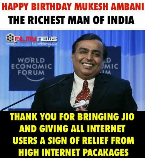 🎂हैप्पी बर्थडे मुकेश अंबानी - HAPPY BIRTHDAY MUKESH AMBANI THE RICHEST MAN OF INDIA FLM NEWS FilmyNews . co 0 WORLD ECONOMIC FORUM MIC IM THANK YOU FOR BRINGING JIO AND GIVING ALL INTERNET USERS A SIGN OF RELIEF FROM HIGH INTERNET PACAKAGES - ShareChat
