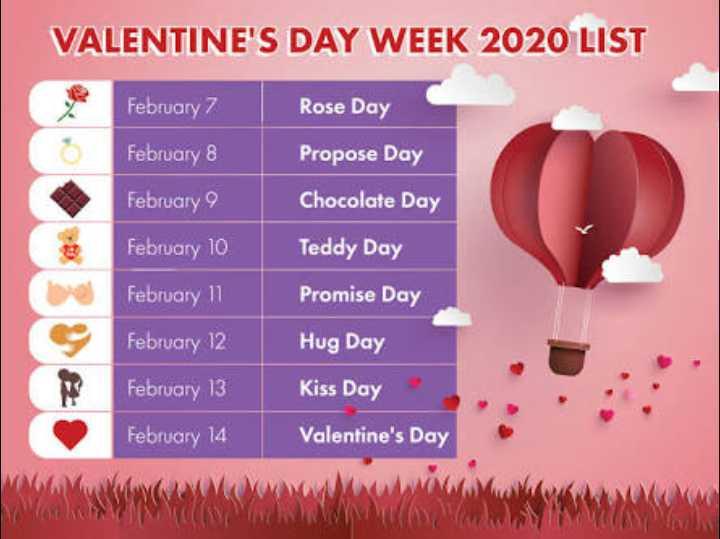 🌹 हैप्पी रोज़ डे 🌹 - VALENTINE ' S DAY WEEK 2020 LIST February 7 Rose Day February 8 Propose Day February 9 Chocolate Day February 10 Teddy Day Promise Day February 11 February 12 February 13 February 14 Hug Day Kiss Day Valentine ' s Day - ShareChat