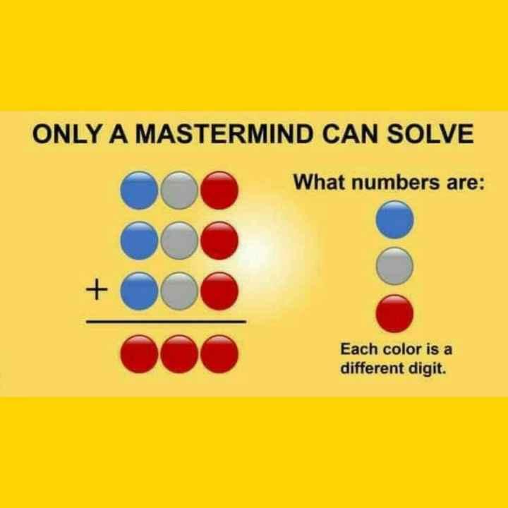 অঙ্ক কুইজ - ONLY A MASTERMIND CAN SOLVE What numbers are : Each color is a different digit . - ShareChat