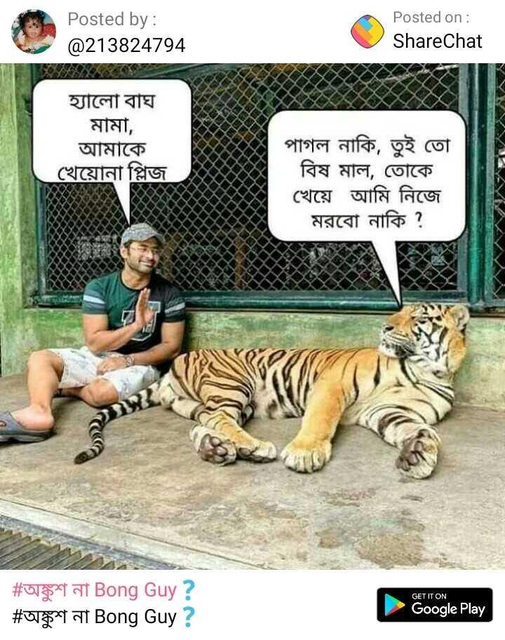 অঙ্কুশ না Bong Guy❓ - Posted by : @ 213824794 Posted on : ShareChat হ্যালাে বাঘ । মামা , আমাকে খেয়ােনা প্লিজ নাকি , তুই তাে বিষ মাল , তােকে খেয়ে আমি নিজে মরবাে নাকি ? GET IT ON # অঙ্কুশ না Bong Guy ? # অঙ্কুশ না Bong Guy ? Google Play - ShareChat