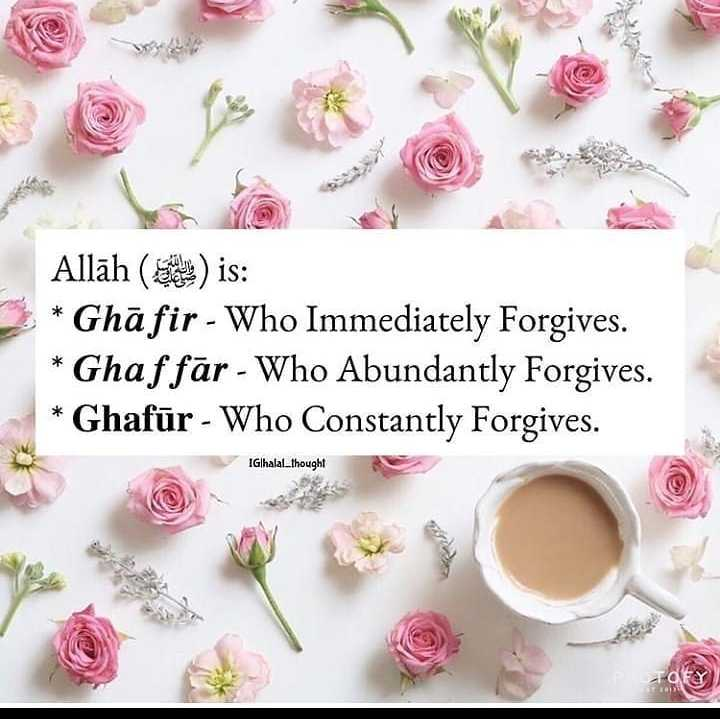আল্লাহ 👆 - * Allāh ( en ) is : * Ghāfir - Who Immediately Forgives . * Ghaf fār - Who Abundantly Forgives . * Ghafūr - Who Constantly Forgives . * * IGhalal _ thought TOY - ShareChat