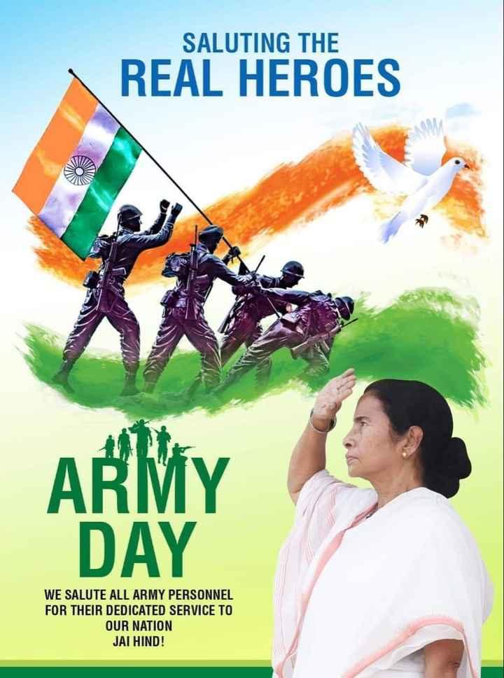 💪ইন্ডিয়ান আর্মি ডে 💪 - SALUTING THE REAL HEROES ARMY DAY WE SALUTE ALL ARMY PERSONNEL FOR THEIR DEDICATED SERVICE TO OUR NATION JAI HIND ! - ShareChat