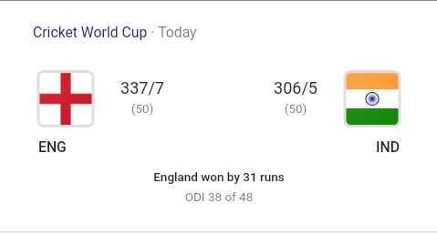 ইন্ডিয়া বনাম ইংল্যান্ড LIVE - Cricket World Cup Today 337 / 7 ( 50 ) 306 / 5 ( 50 ) ENG IND England won by 31 runs ODI 38 of 48 - ShareChat