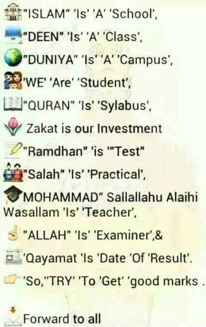 🕌ইবাদাত - E ISLAM ' IS ' ' A ' ' School ' , - DEEN ' IS ' ' A ' Class ' , DUNIYA ' Is ' A ' ' Campus ' , ' WE ' Are ' Student ' , QURAN Is ' ' Sylabus ' , V Zakat is our Investment Ramdhan ' is ' ' Test Salah ' IS ' ' Practical ' , MOHAMMAD Sallallahu Alaihi Wasallam ' ls ' ' Teacher ' , S ALLAH ' Is ' ' Examiner ' , & Qayamat ' Is ' Date ' Of ' Result ' . ' SO , TRY ' ' To ' Get ' ' good marks Forward to all - ShareChat