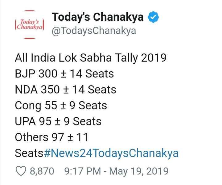 এক্সিট পোল - Today ' s Chanakya Today ' s Chanakya @ TodaysChanakya All India Lok Sabha Tally 2019 BJP 300 + 14 Seats NDA 350 + 14 Seats Cong 55 + 9 Seats UPA 95 + 9 Seats Others 97 + 11 Seats # News24TodaysChanakya ♡ 8 , 870 9 : 17 PM - May 19 , 2019 - ShareChat