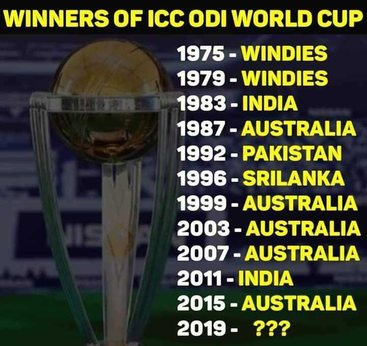 ওয়ার্ল্ড কাপ ম্যাচ মোমেন্ট - WINNERS OF ICC ODI WORLD CUP 1975 - WINDIES 1979 - WINDIES 1983 - INDIA 1987 - - AUSTRALIA 1992 - PAKISTAN 1996 - SRILANKA 1999 - AUSTRALIA 2003 - AUSTRALIA 2007 - AUSTRALIA 2011 - INDIA 2015 - AUSTRALIA 2019 - ? ? ? - ShareChat