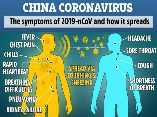 🤧করোনা ভাইরাস :সাবধান 😷 - CHINA CORONAVIRUS The symptoms of 2019 - nCoV and how it spreads HEADACHE 0 - SORE THROAT COUGH FEVER CHEST PAIN CHILLS RAPID HEARTBEAT BREATHING DIFFICULTIES PNEUMONIA KIDNEY FAILURE SPREAD VIA COUGHING & SNEEZING SHORTNESS OF BREATH - ShareChat