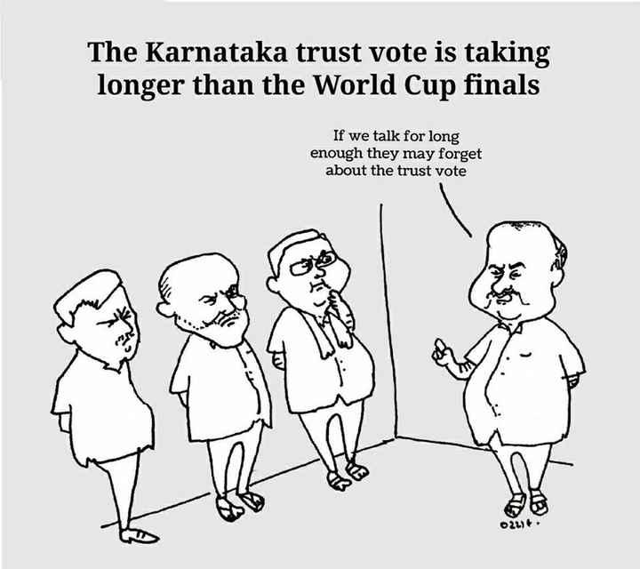 কর্নাটকে রাজনৈতিক সঙ্কট 🤛🏿 - The Karnataka trust vote is taking longer than the World Cup finals If we talk for long enough they may forget about the trust vote - ShareChat