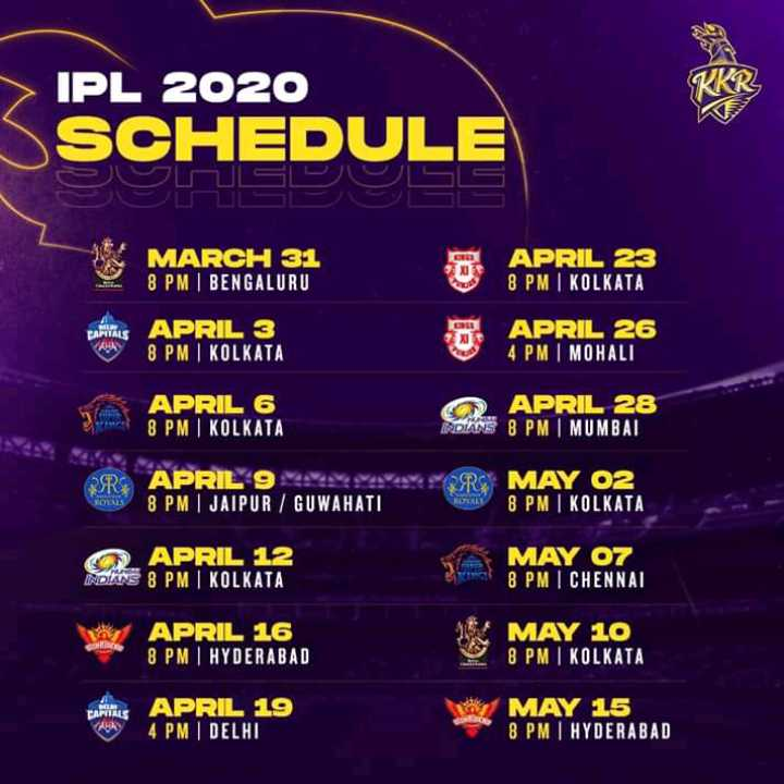 🏏 ক্রিকেট - IPL 2020 SSCHEDULE MARCH 31 8 PM | BENGALURU APRIL 23 8 PM | KOLKATA CAPITALS APRIL 3 8 PM I KOLKATA APRIL 26 4 PM MOHALI APRIL 6 8 PM KOLKATA O APRIL 28 ROANE 8 PM MUMBAI PSRS APRIL 9 x 8 PM | JAIPUR / GUWAHATI RC MAY 02 8 PM | KOLKATA APRIL 12 SONNE 8 PM | KOLKATA MAY 07 8 PMI CHENNAL APRIL 16 8 PM HYDERABAD MAY 10 8 PM KOLKATA CAPITALS APRIL 19 4 PM DELHI MAY 15 8 PM I HYDERABAD - ShareChat